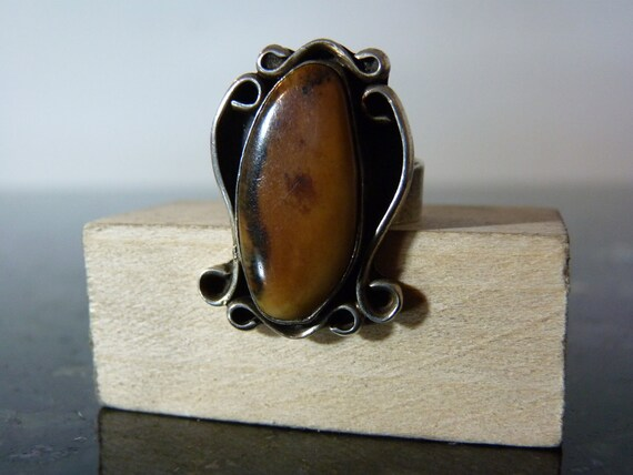 SALE Vintage Silver Large Tan Brown Gemstone with Swirls Ring