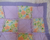 Green Apples and Caterpillars Baby Rag Quilt