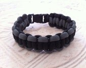 Paracord Bracelet, Grey & Black Handwoven Jewelry with Small Black Buckle