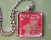 Vintage postage stamp necklace, Japan
