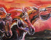 """Original acrylic on canvas, finger painting, """"Stampede"""" 60""""x36"""""""