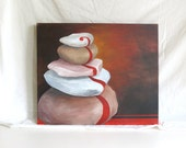 "Original acrylic on canvas, ""Zen,"" 24""x20"" Rocks"