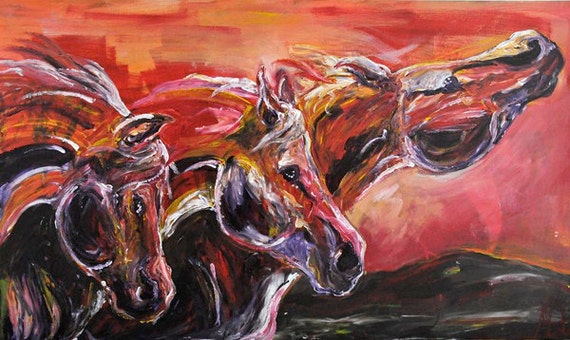 "Original acrylic on canvas, finger painting, ""Stampede"" 60""x36"""