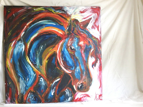 """RESERVED for LAURIE Original, Large Painting, Acrylic, 36""""x36"""" """"Rainbow"""""""