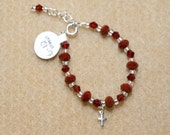 Christmas Red Satin and Swarovski Crystal Bracelet with Cross Charm- 6-12 mths