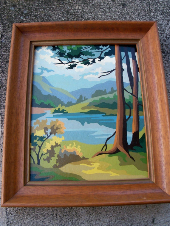 Vintage Framed Paint By Number Landscape Painting Free Shipping to US