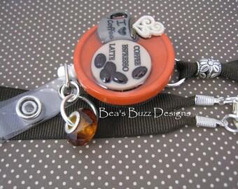 LOVE COFFEE - Retractable Badge Reel - Designer Badge Holder - Id Holder - Badge Clip - Nurse Jewelry - Teacher Gift - RN - Medical Id Badge
