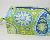 Small Zippered Project Bag - Periwinkle, Aqua and Lime Paisley Bandana