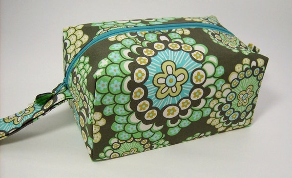 Small Zippered Project Bag - Amy Butler Daisy Chain Dandelion Field Forest