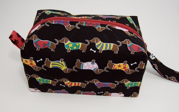 Small Zippered Project Bag - Dachshunds in Sweaters