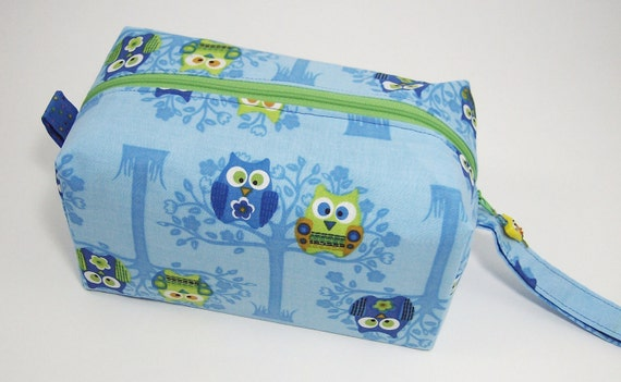 Small Zippered Project Bag - Blue and Green Roosting Owls