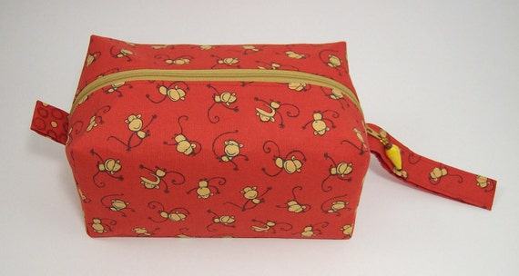 Small Zippered Project Bag - Monkey Toss