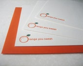 Orange You Sweet -Thank You Card Set - Letterpress Flat Card - 6 cards - Florida - Orange - Gift for a Foodie - Citrus