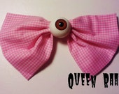 Creepy Eyeball Pink Gingham Bow Hair Clip
