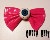 Creepy Blue Eyeball Fuchsia PVC Bow Hair Clip