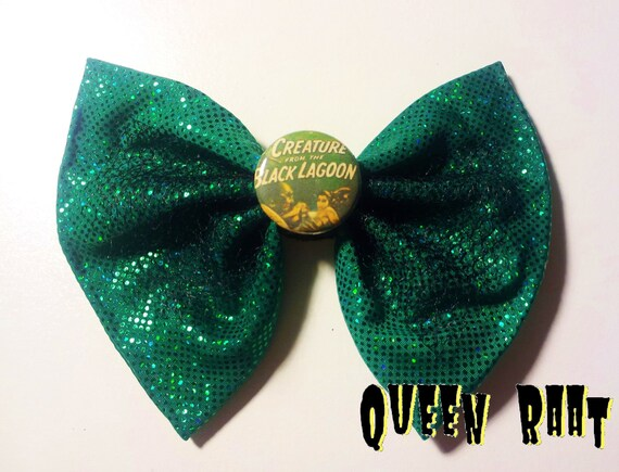 Creature From The Black Lagoon Classic Horror Film Green Bow Hair Clip Accessory