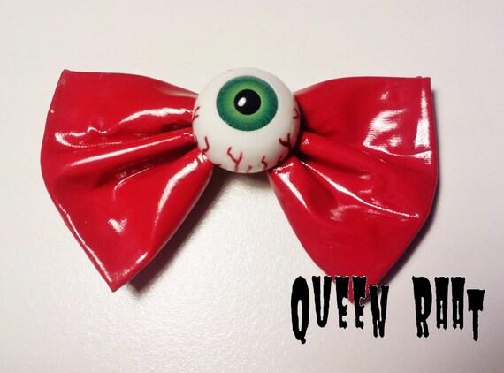 Creepy Green Eyeball Red PVC Bow Hair Clip