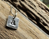 Silver Initial Charm. Silver Hand Stamped Letter Charms. One square Letter Charm Necklace.