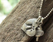 Silver Hand Stamped Mothers Jewelry Heart Shaped Letter Charm with Frosted White Sea Glass Charm