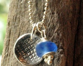 Fine Silver Jewelry Metal Clay Tiny Round Pendant with Blue Beach Glass Bead Jewelry Textured Domed Disc Pendant Necklace