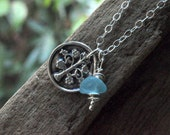 Silver Tree of Life Necklace. Silver Tree of Life Charm with Aqua Sea Glass Beads.