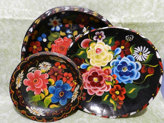 folk hand painted bowl wall tole