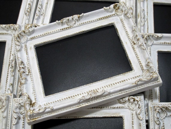 White Antique-Style Framed Chalkboard with a Touch of Gold, Wedding Decor, Chalkboard Frame 4x6