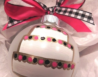 Hand Panted Christmas Ornament - Wedded Bliss