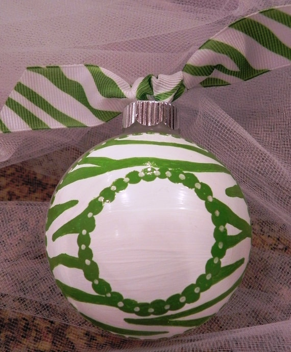 Hand Painted Christmas Ornament - Zebra Monogram