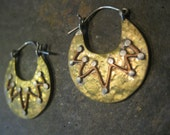 MIxed metal hoop earrings Sterling brass and copper  TRIBAL free ship