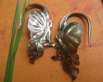Fairy earring 12  gauge..Spectacular carved gauged Fairies .....Free ship and gift box