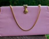 Pink Clutch - 1960s Baby Pink Gold Hardware Rhinestone Clasp
