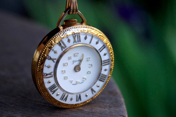 Clock Necklace- Vintage Lucerne Swiss Gold& Silver Filigree Pendant