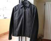Classic James Dean style,mans vintage black leather jacket,fully lined,Medium
