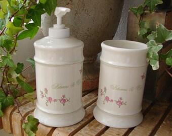 Vintage shabby chic,1980's un-used pink cottage roses,ceramic soap dispenser & tumbler/pot