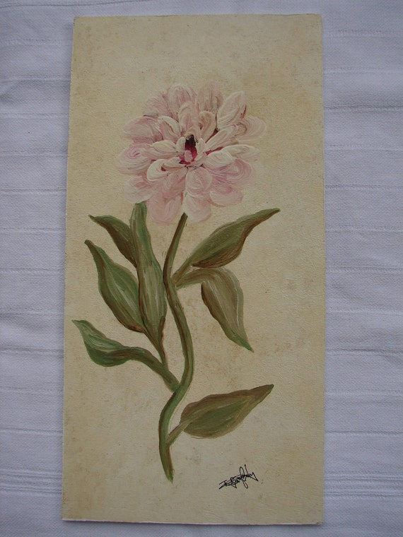 Shabby chic,vintage handpainted flower/peony/watercolour/acrylic on wood.