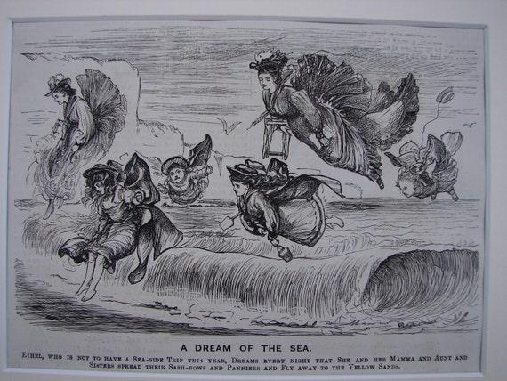 original 1875 antique Victorian print.Seaside/fairies.Hauntingly beautiful.