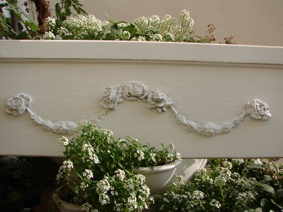 French shabby cottage chic,chippy white roses & rose swags,over door/bed/window pediment/header fronton