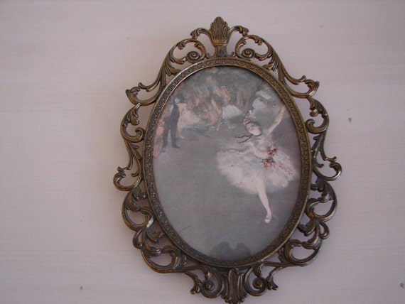 Vintage Edgar Degas print (dancer on stage) in ornate,oval brass frame with convex glass,shabby chic/French apartment