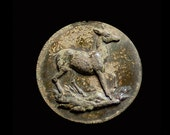 Antique Archaeological Find, Bronze Disk with Deer on Wild Ground. Wonderful Patina and Verdigris, Time-Worn Mysterious Beauty.