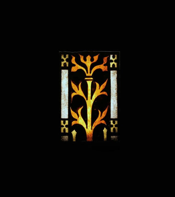 RESERVED Antique Gothic Gold /Yellow Stained Glass, Church Window Fragment, Historic Artifact