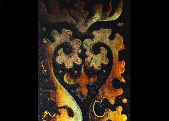 RESERVED for  DAWN Antique Gothic Heart Fern, Exquisite Gothic Revival Stained Glass Fragment, Historic Artifact