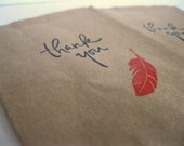 Mini Paper Bags - 10 Small Hand Stamped Kraft Paper Bags - For Your Shop -  Thank you Goodie Bags