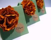 Miniature Cards - French Mini Cards - Set of 3  Designer Flower Orange Green and Brown Mini Note Cards - Shop Thank You Cards