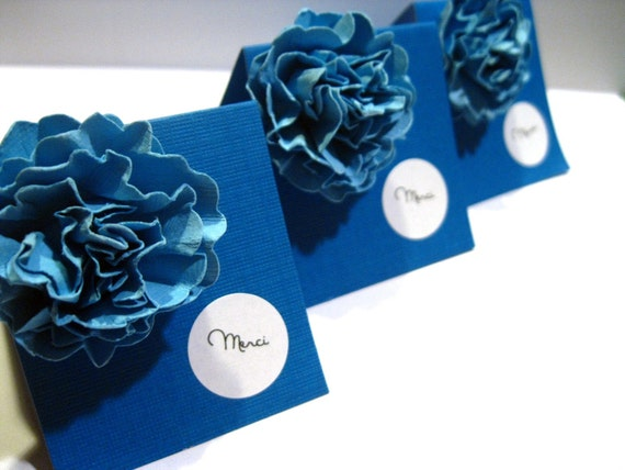 Miniature Cards - French Mini Cards - Set of 3 - Designer Flower Blue and White Mini Note Cards - Shop Thank You Cards