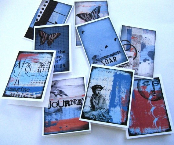 Miniature Cards - Inspiration in Blue Grey and Red  - Mini Note Cards - Set of 10