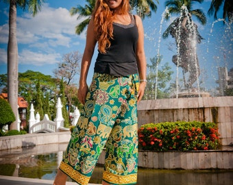 Fisherman pants, Cotton, Green with yellow jungle design