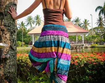 Thai Harem Pants in Cotton, Multicolor Wide Blue, Turquoise, Purple HORIZONTAL Stripes(S-XL) one size fits all