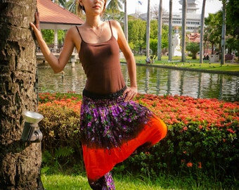 Thai Harem Pants in Cotton, Orange and Purple Floral Print Design -- Aladdin Pants -- Women's Harem Pants -- Drop Crotch Style
