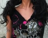 Black and Pink Rock N Roll Royalty Shredded Shirt